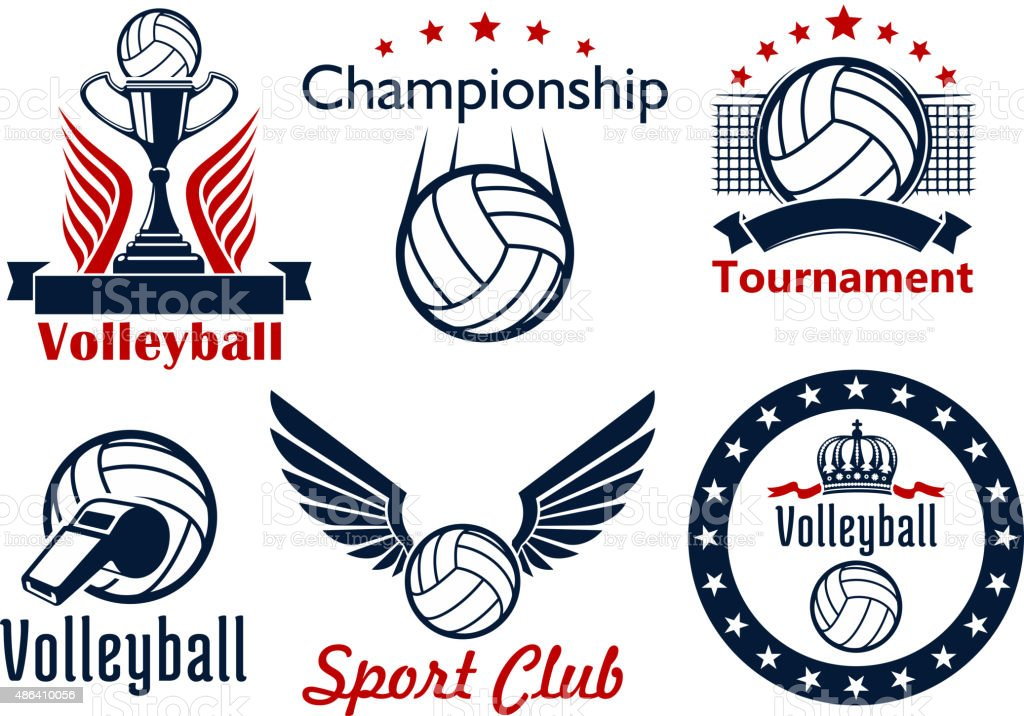 Volleyball tournament and club emblems vector art illustration