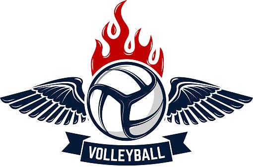 Volleyball tournament emblem template. Design elements