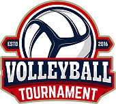 volleyball tournament. Emblem template with volleyball ball