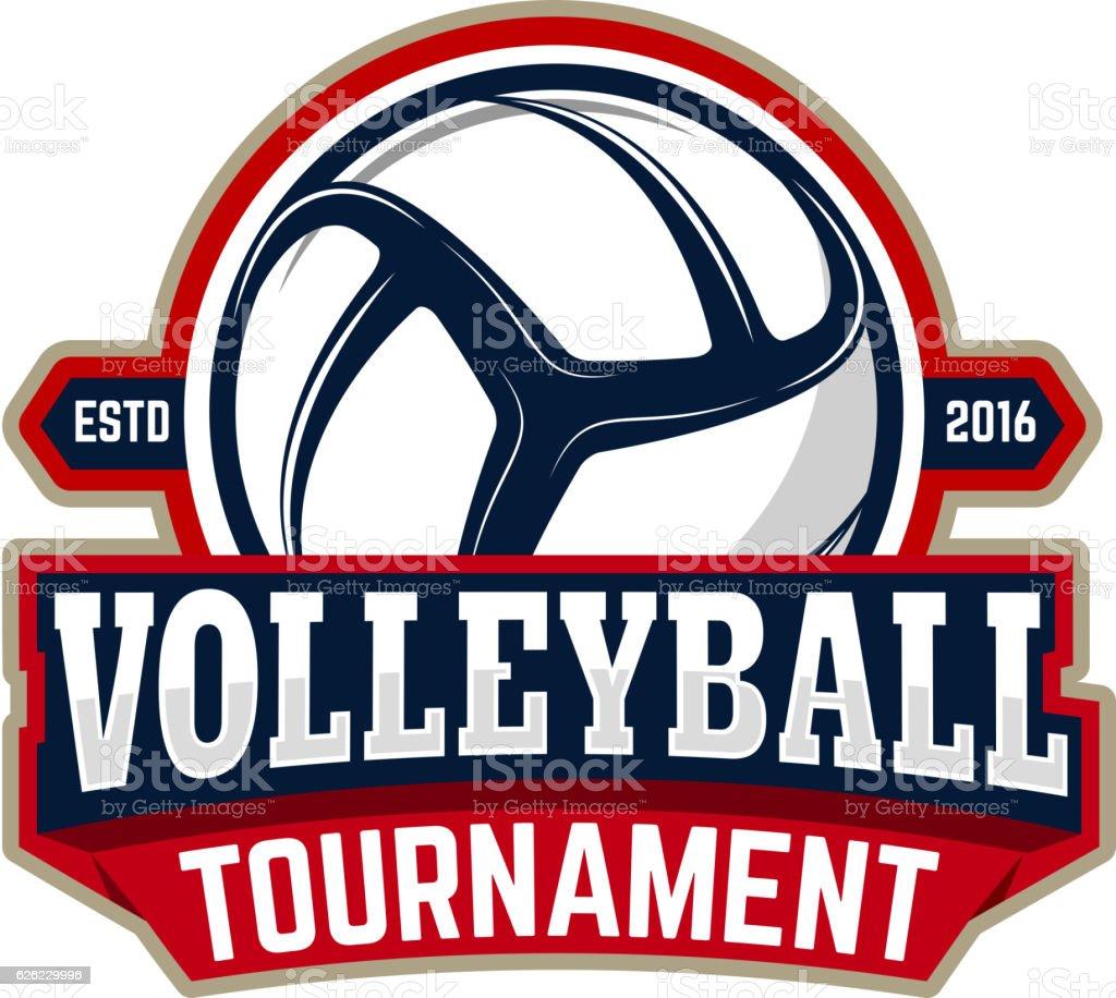 volleyball tournament. Emblem template with volleyball ball – Vektorgrafik