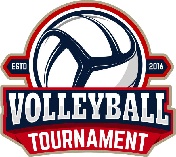 volleyball tournament. Emblem template with volleyball ball - Illustration vectorielle