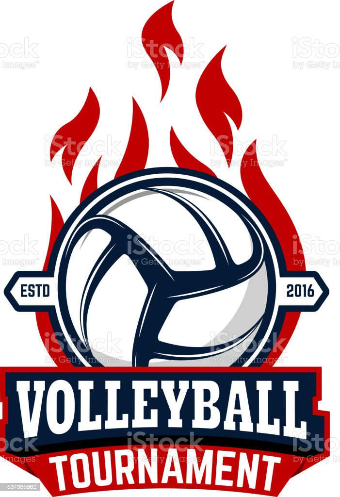 Volleyball tournament. Label template with volleyball ball. vector art illustration