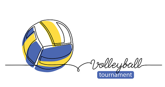 Volleyball tournament simple vector background, banner, poster with color ball sketch. One line drawing art illustration of volleyball ball