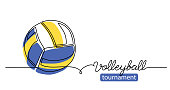 istock Volleyball tournament simple vector background, banner, poster with color ball sketch. One line drawing art illustration of volleyball ball 1292417068