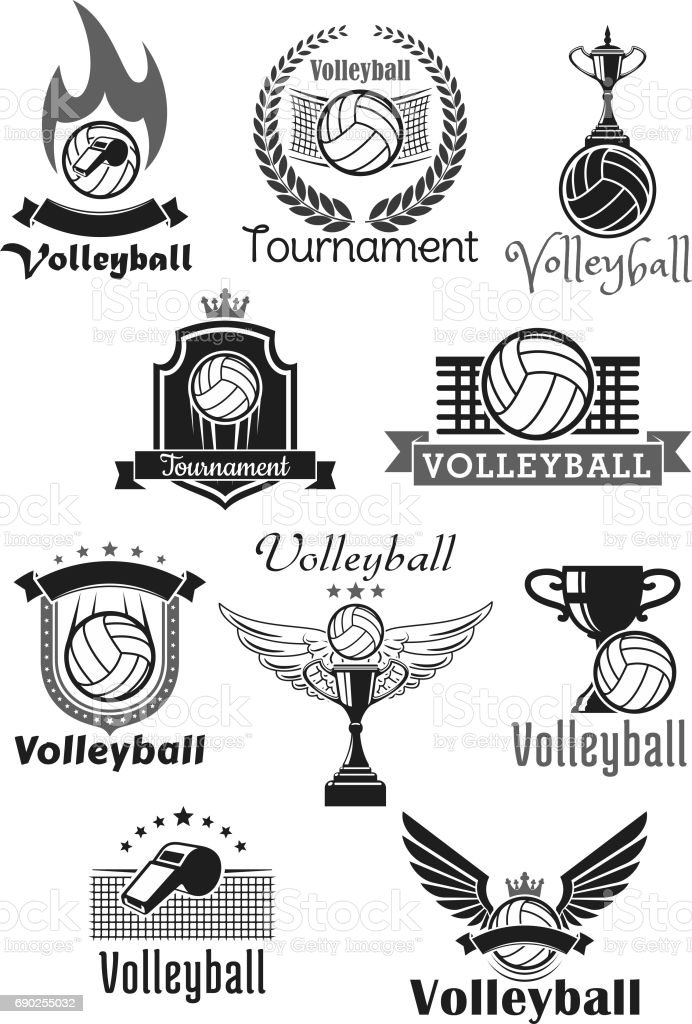 Volleyball tournament sport club vector icons set vector art illustration