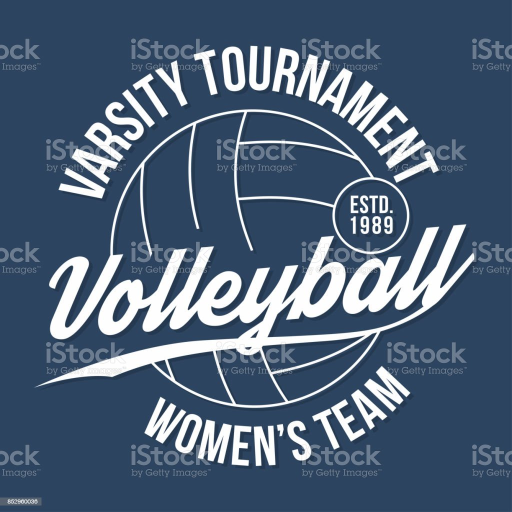Volleyball typography for t-shirt print. Varsity athletic t-shirt graphics vector art illustration