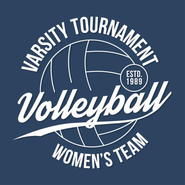 Tipografía de voleibol para la impresión de la camiseta. Gráficos de camiseta athletic Varsity - ilustración de arte vectorial