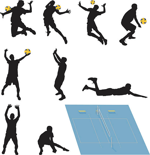Royalty Free Jump Serve Volleyball Clip Art, Vector Images ...