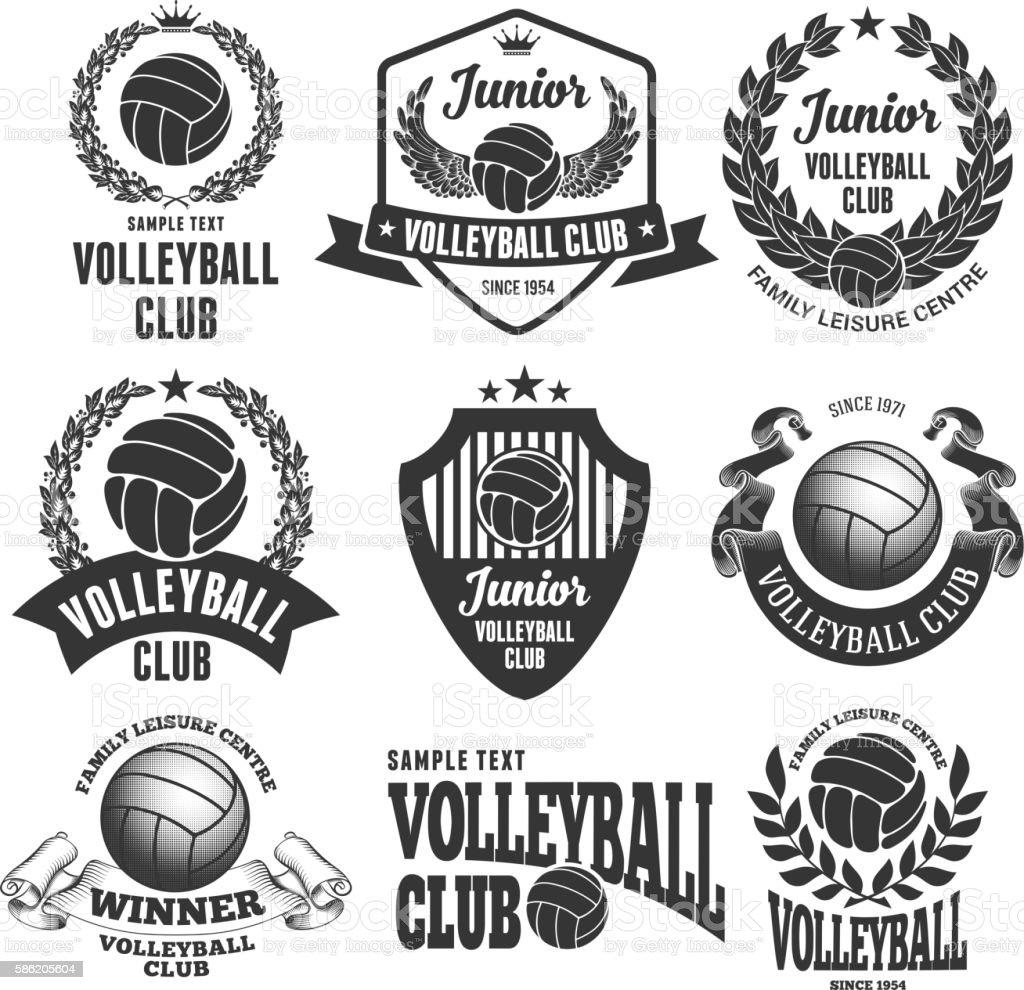 Volleytball Club Emblems ベクターアートイラスト