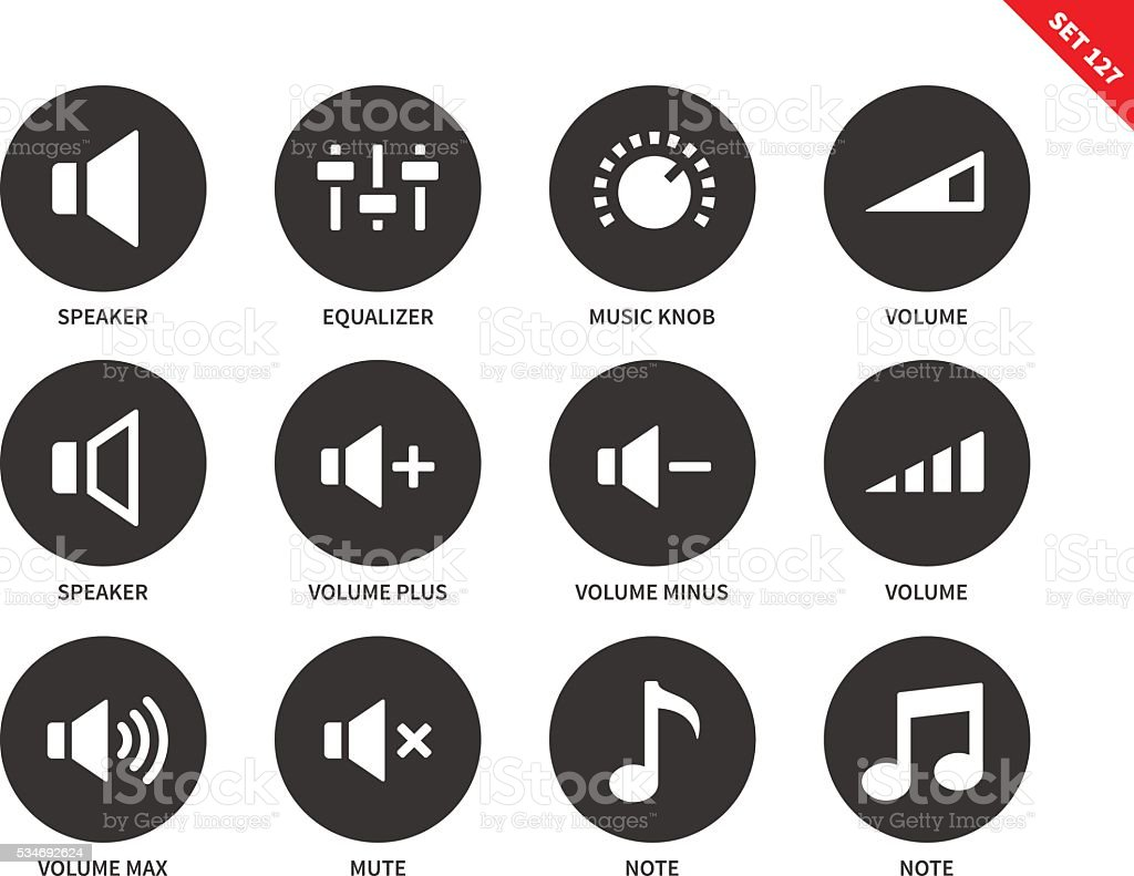 Volome icons on white background vector art illustration