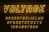Voltage neon light alphabet, realistic extra glowing font
