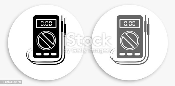 Voltmeter Black and White Round Icon. This 100% royalty free vector illustration is featuring a round button with a drop shadow and the main icon is depicted in black and in grey for a roll-over effect.