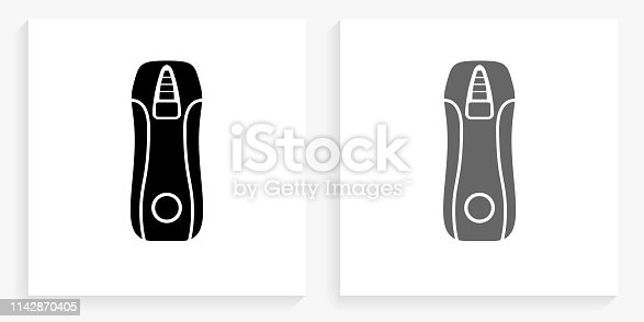 Voltmeter Black and White Square Icon. This 100% royalty free vector illustration is featuring the square button with a drop shadow and the main icon is depicted in black and in grey for a roll-over effect.