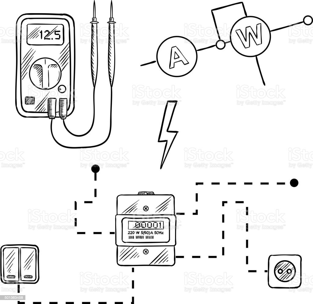 Voltmeter, electricity meter and electrical circuit sketch royalty-free  voltmeter electricity meter and electrical