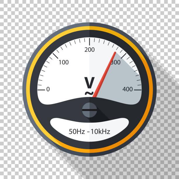 ilustraciones, imágenes clip art, dibujos animados e iconos de stock de icono de voltímetro en estilo plano con larga sombra sobre fondo transparente - amperímetro