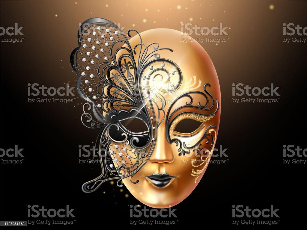 377326f83 Máscara de Volto decorada con encaje mariposa ilustración de máscara de  volto decorada con encaje mariposa