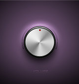Volume button, sound control icon, music knob metal aluminum or chrome texture and scale with black ring on purple plastic background