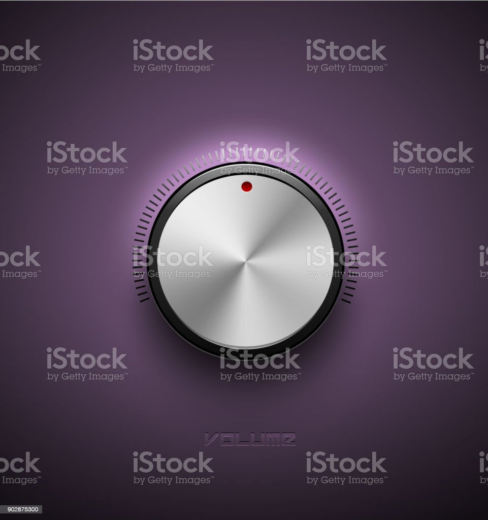 Volume button, sound control icon, music knob metal aluminum or chrome texture and scale with black ring on purple plastic background vector art illustration
