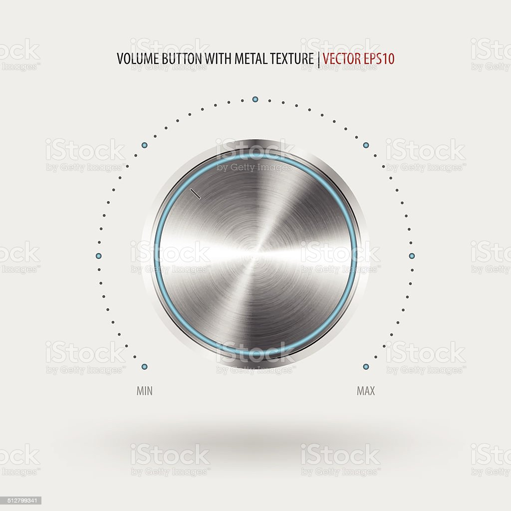 Volume button with metal texture. vector art illustration