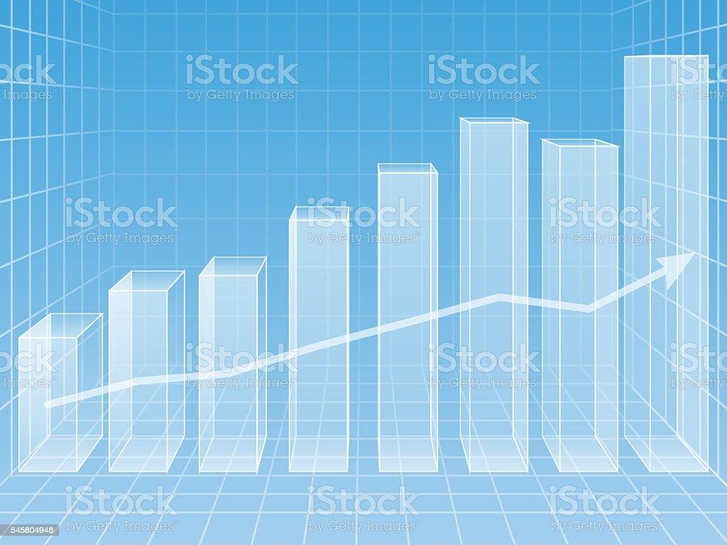 volume chart on a blue background vector art illustration