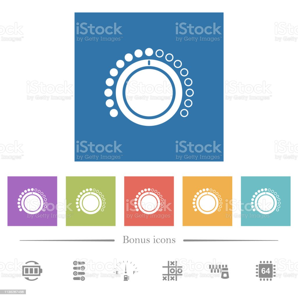 Volume Control Flat White Icons In Square Backgrounds Stock