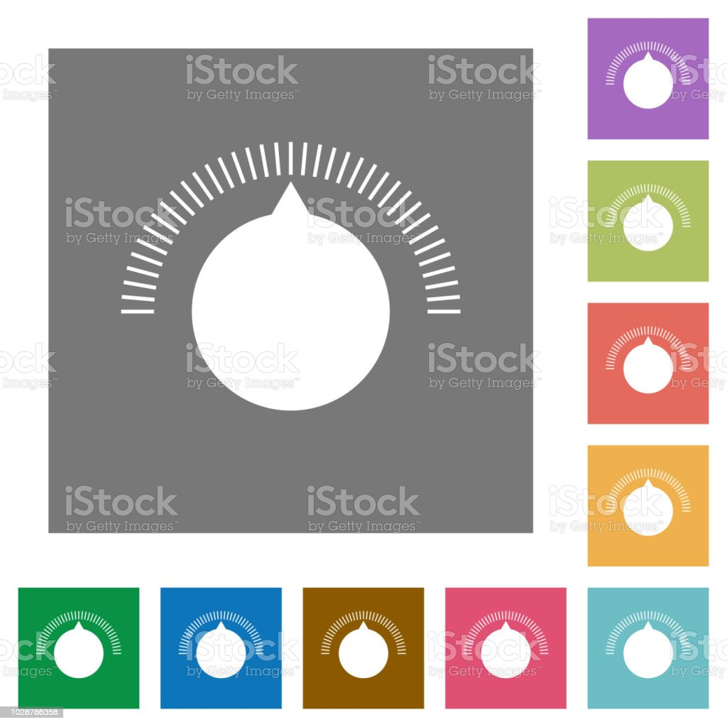 Volume Control Square Flat Icons Stock Illustration