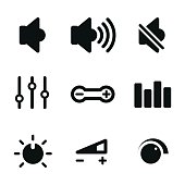 Volume control vector icons.