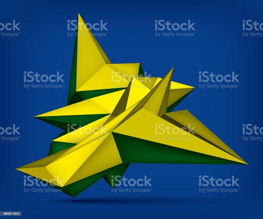 Volume geometric shape, 3d levitation crystal, creative low polygons object, vector design form Lizenzfreies volume geometric shape 3d levitation crystal creative low polygons object vector design form stock vektor art und mehr bilder von abstrakt