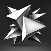 Volume geometric shape, 3d levitation light crystal on dark background, creative low polygons dark object, vector design form