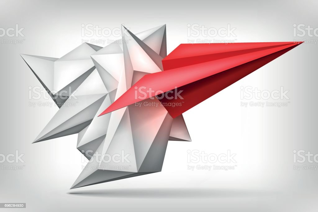 Volume Geometric Shape Red Paper Airplane Inside 3d Origami Crystal Creative Low Polygons