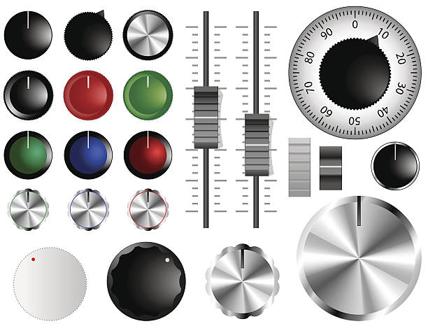 Volume knobs Plastic and chrome knobs, dials and sliders knob stock illustrations