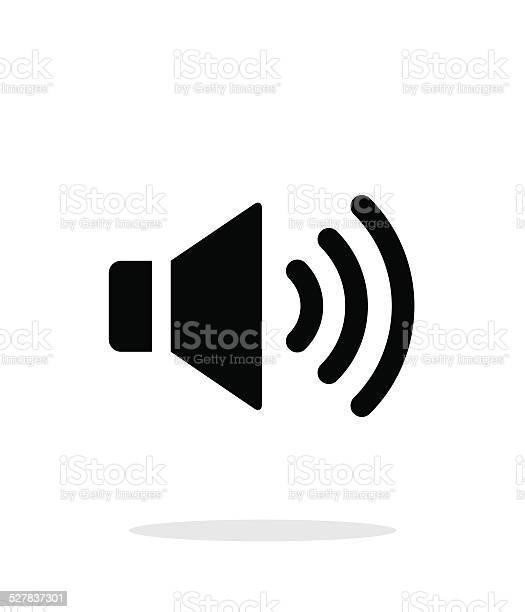 Volume max. Speaker icon on white background. Vector illustration.