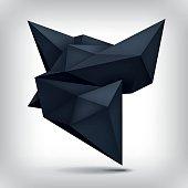 istock Volume origami geometric shape, 3d levitation black crystal, creative low polygons dark object, vector design form 831106494