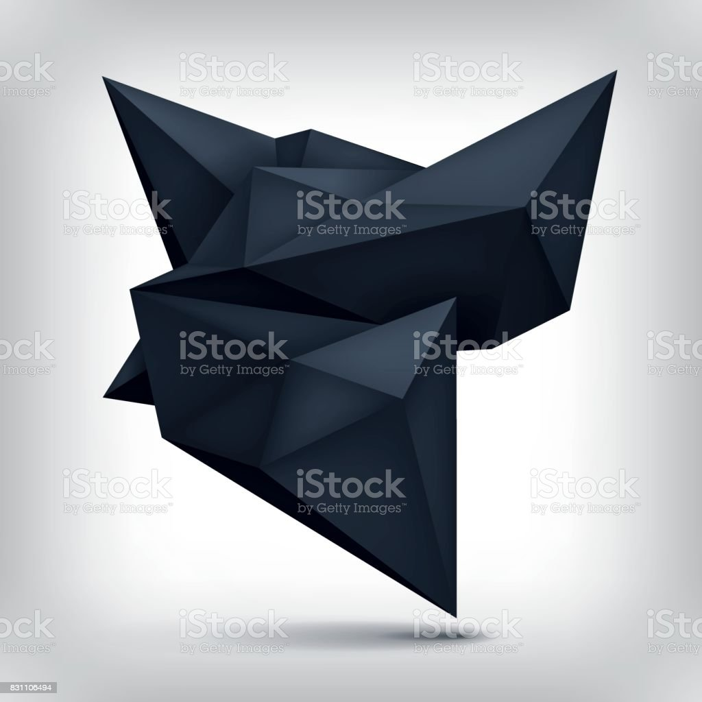 Volume origami geometric shape, 3d levitation black crystal, creative low polygons dark object, vector design form vector art illustration