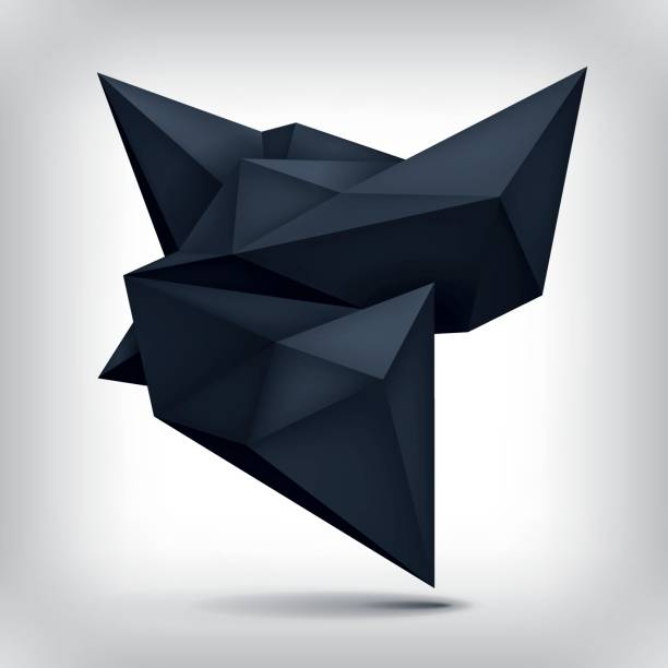 volume origami geometric shape, 3d levitation black crystal, creative low polygons dark object, vector design form - spiked stock illustrations