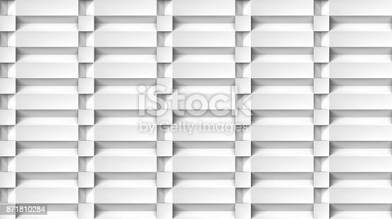 istock Volume realistic texture, cubes steps, white 3d geometric pattern, design vector light background 871810284