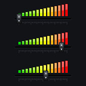 Volume slider. From minimum to maximum level. Black interface