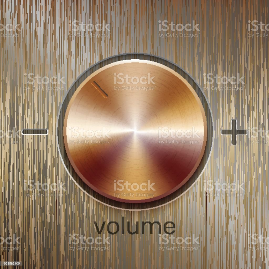 Volume sound control with bronze brushed texture vector art illustration