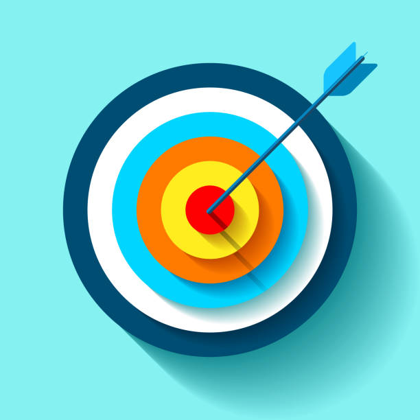 volume target icon in flat style on color background. arrow in the center aim. vector design element for you business projects - goals stock illustrations