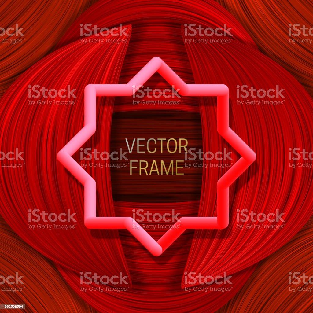 Volumétrico quadro colorido sobre fundo saturado em tons de vermelhos. Modelo de design ou tampa de embalagem elegante. - Vetor de Abstrato royalty-free