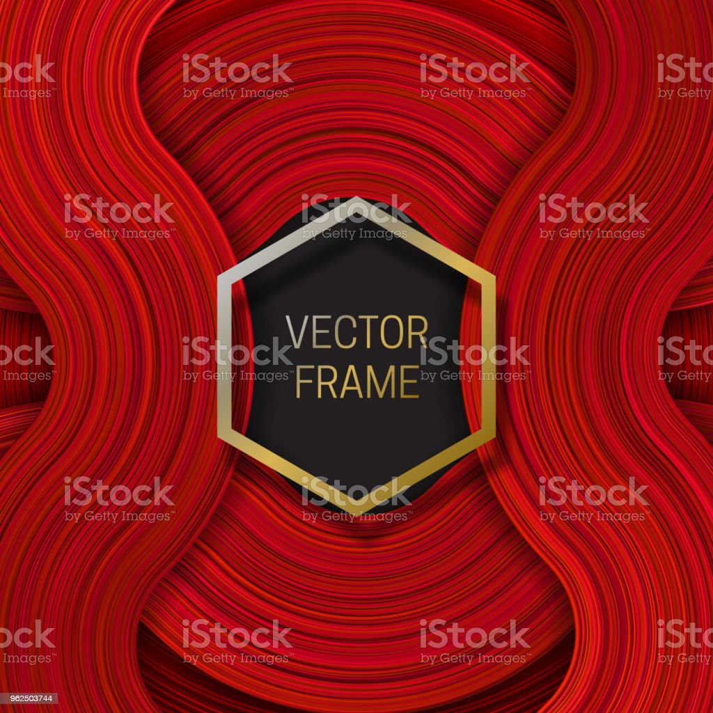 Volumetric frame on saturated background in red shades. Trendy packaging design or cover template. - Royalty-free Abstract stock vector