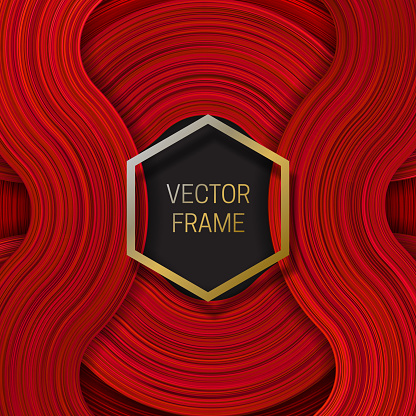 Volumetric Frame On Saturated Background In Red Shades Trendy Packaging Design Or Cover Template Stock Illustration - Download Image Now