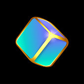 istock Volumetric neon cube with golden faces 1318283063