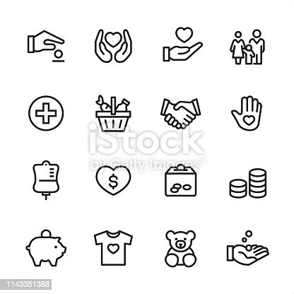 16 line black on white icons / Volunteer and Charity Set #96 Pixel Perfect Principle - all the icons are designed in 48x48pх square, outline stroke 2px.  First row of outline icons contains:  Giving Money, Heart Protection, Heart in Human hand, Family;  Second row contains:  Medical Cross, Basket of Food, Handshake, Volunteer;  Third row contains:  Blood Donation Bag, Charity Heart, Donation Box, Coins Stack;   Fourth row contains:  Piggy Bank, Clothes Donating, Toys Donating, Receiving Hand.  Complete Inlinico collection - https://www.istockphoto.com/collaboration/boards/2MS6Qck-_UuiVTh288h3fQ
