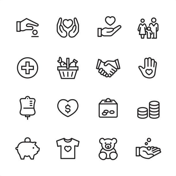 illustrazioni stock, clip art, cartoni animati e icone di tendenza di volontariato e carità - set di icone di contorno - family