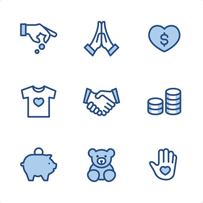 Volunteer and Charity - Pixel Perfect Blue icons
