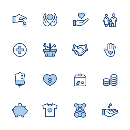 Volunteer and Charity - Pixel Perfect blue outline icons