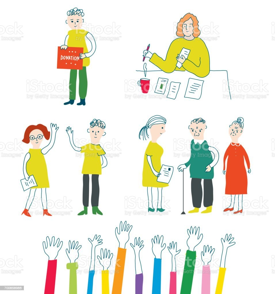 Volunteer and charity set with people, vector illustration vector art illustration
