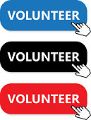 Volunteer button collection with a hand pointer.