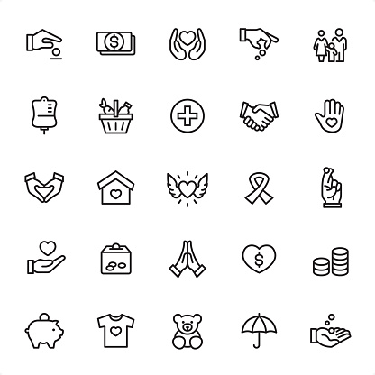 Volunteer Charity - Outline Icon Set